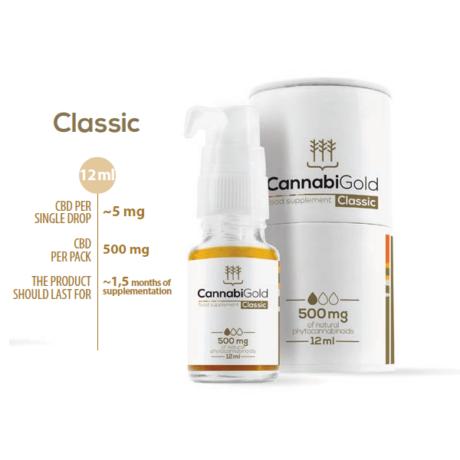 CannabiGold Classic 500 mg CBD olaj 12ml