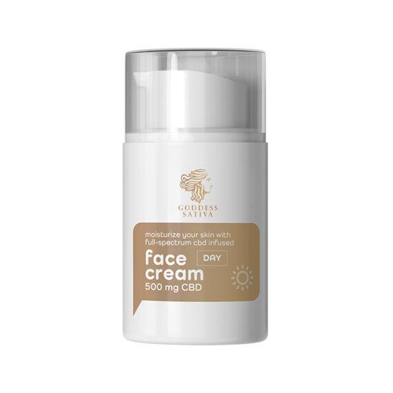 Goddess Sativa nappali hidratáló arckrém 500mg CBD, 50 ml